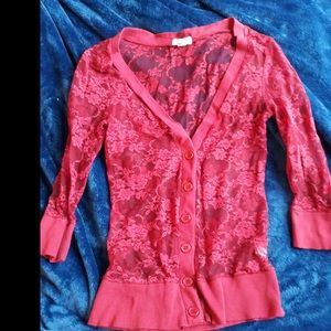 Zenana outfitters pink lace cardigan